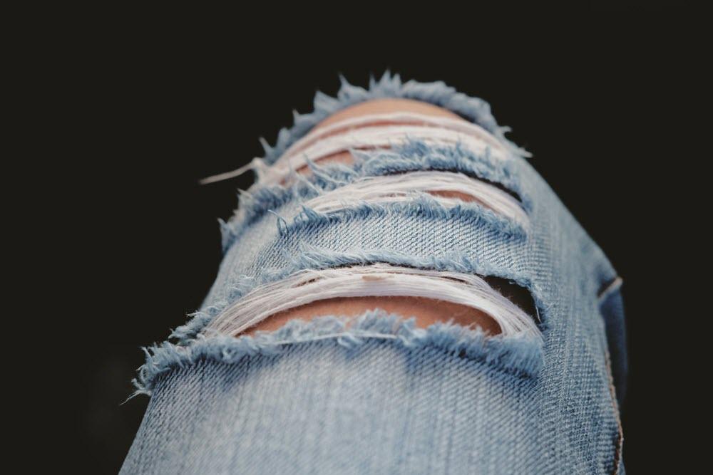 Ripped Denim Mom Jeans