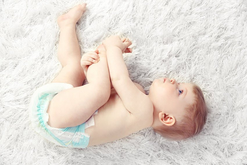 Baby Wearing Diapers Laying Down