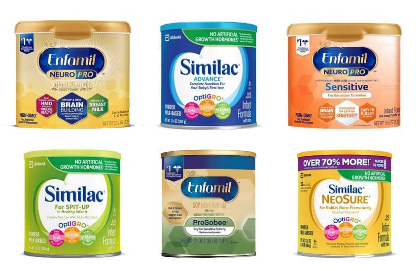 Different Types of Formula Enfamil and Similac