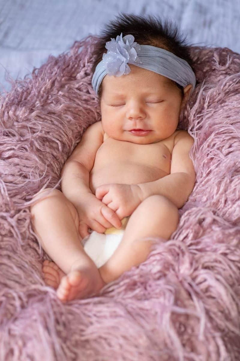 newborn girl sleeping