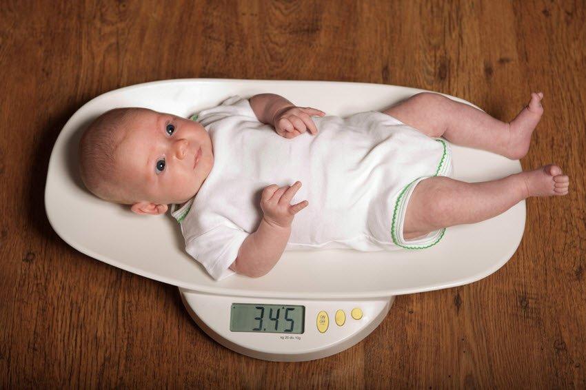 Newborn Baby on a Scale