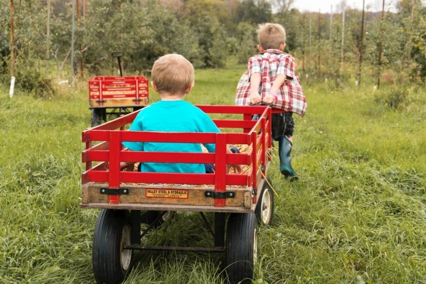 kids playing with wagons