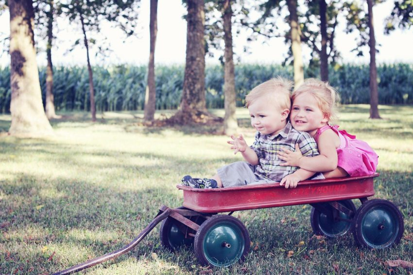 kids in a wagon