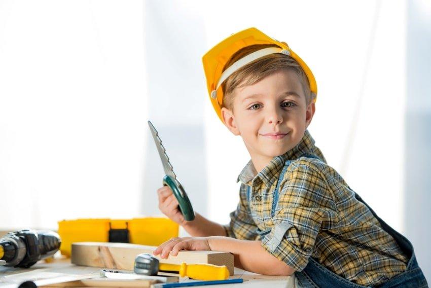 boy using play tools