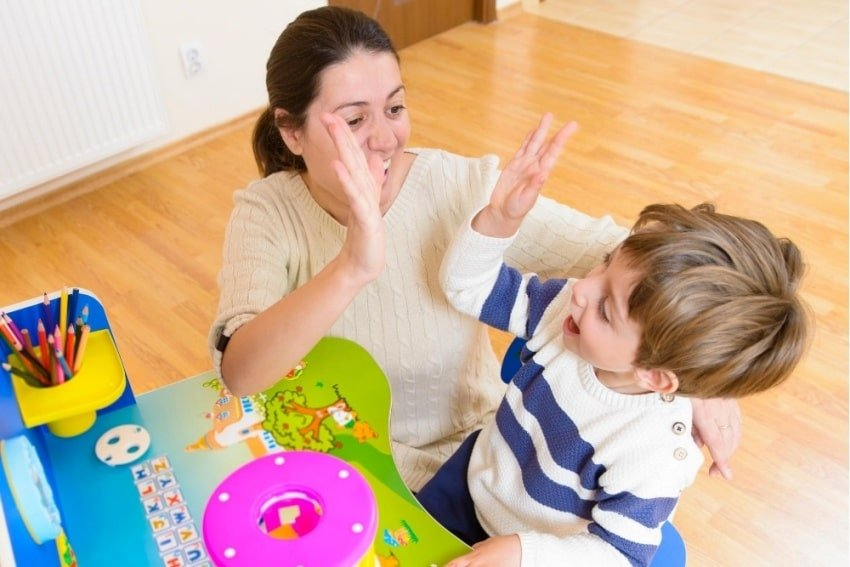 parent encouraging child