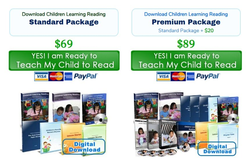 children learning reading packages