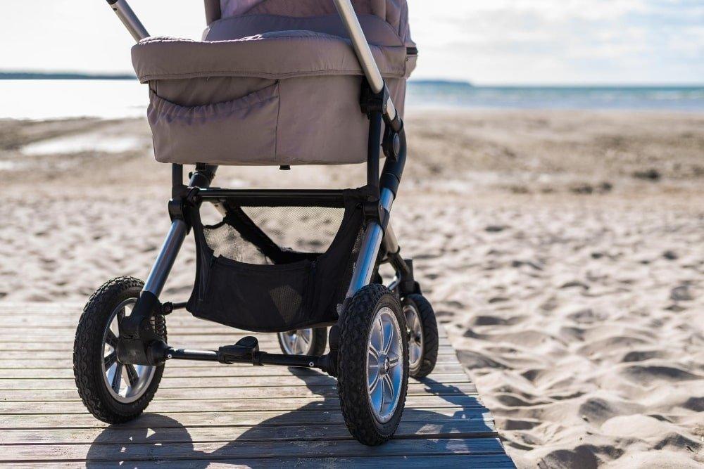 stroller at the beach