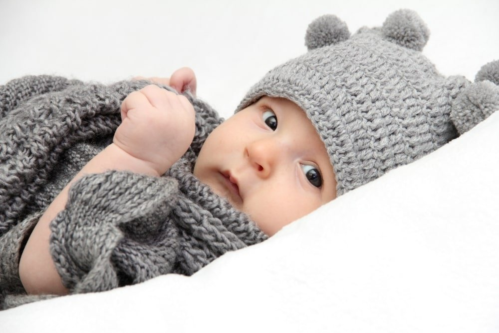 baby in gray