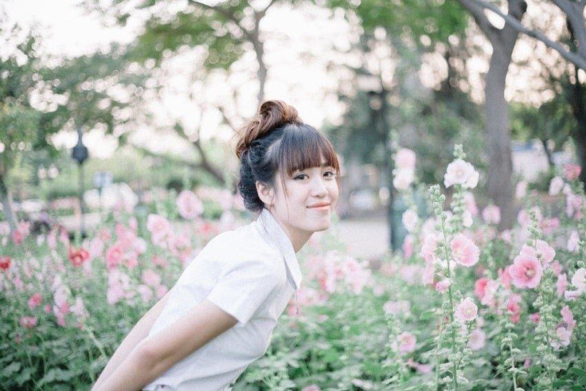 thai girl in a garden