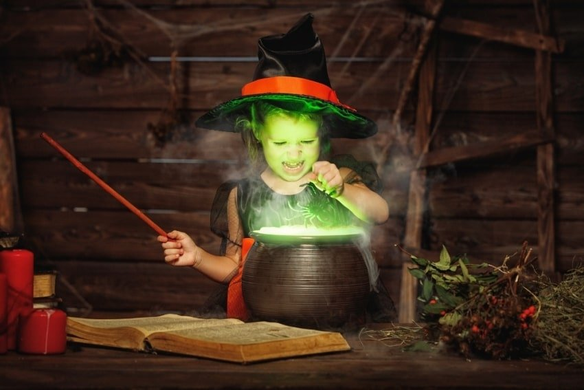 witch girl brewing a potion