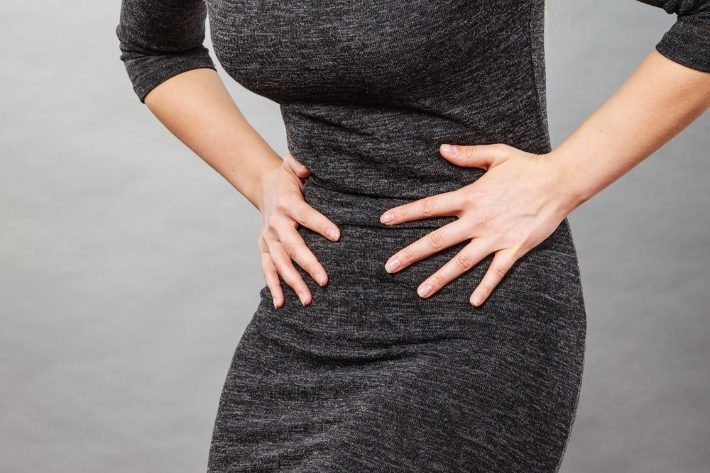 woman having stomach pains
