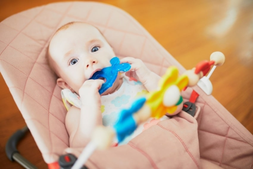 baby in a baby rocker