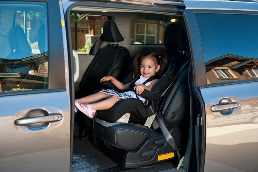 girl toddler on a car seat