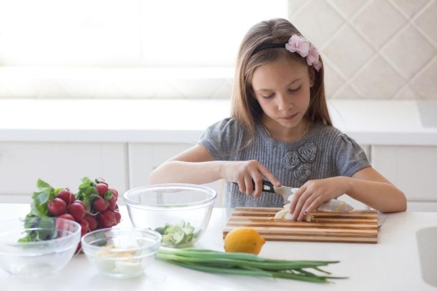 kid preparing food