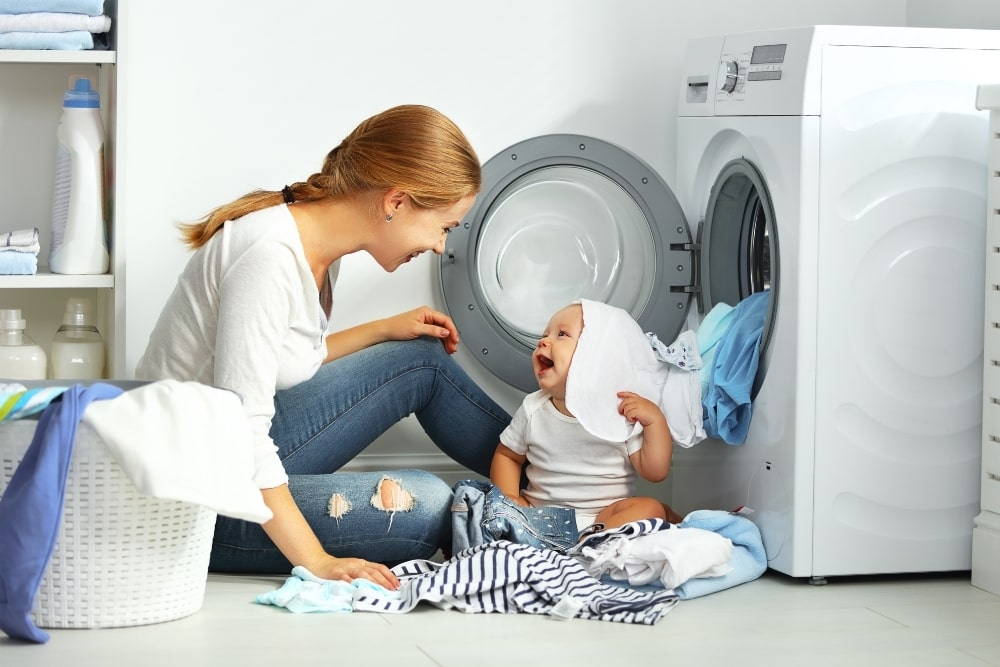 mother and baby laundry