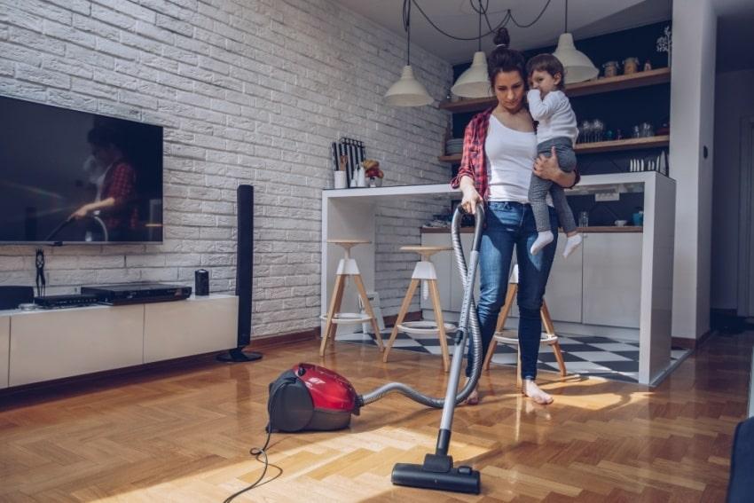 mother cleaning floor