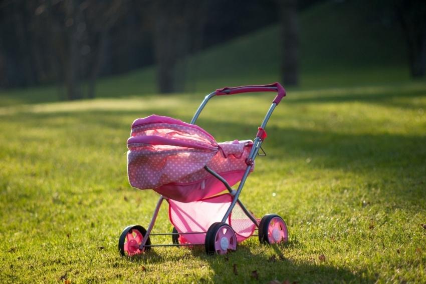 pink stroller in a park