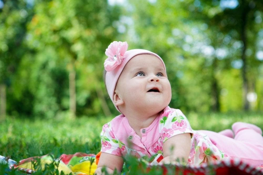 cute baby girl in pink
