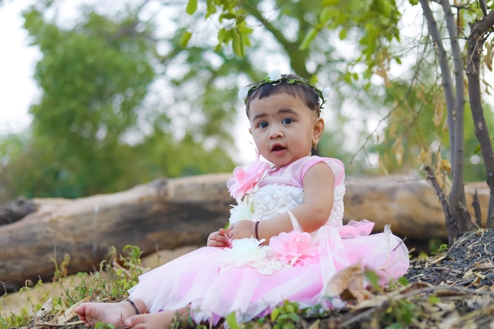 cute baby girl outdoors