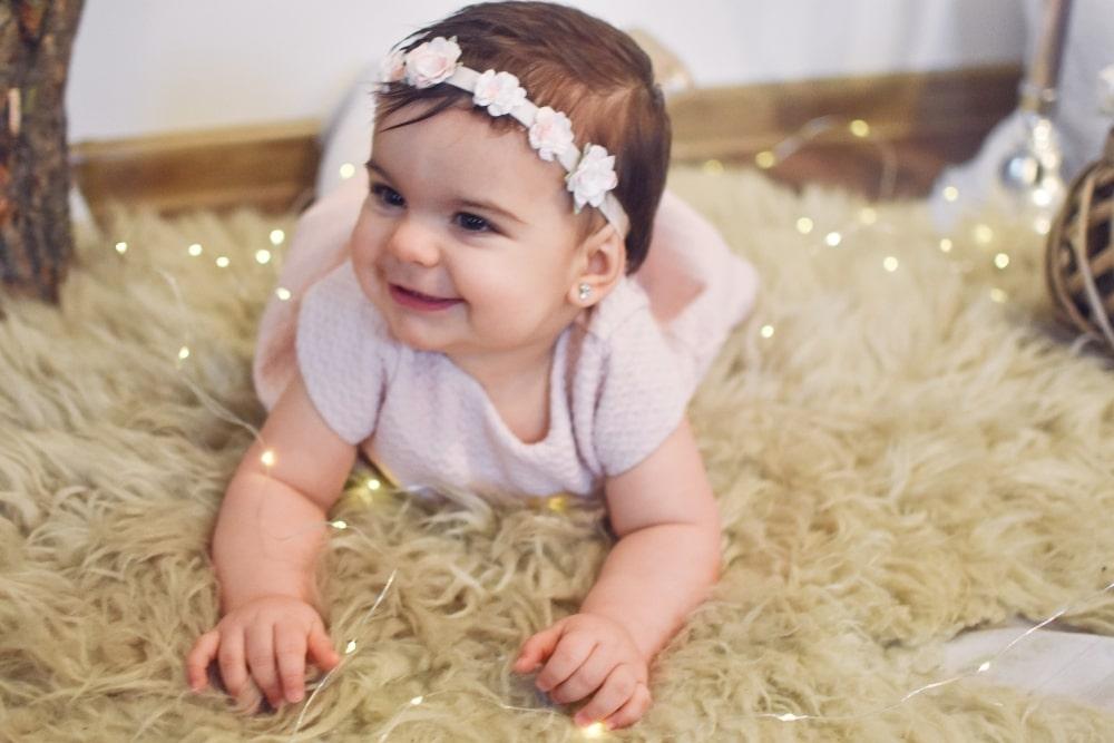cute baby girl wearing a headband