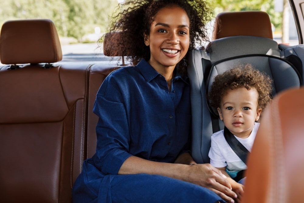 mother and child inside a car