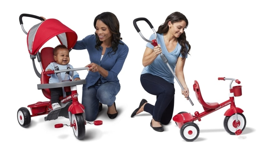radio flyer trike mother and baby-side