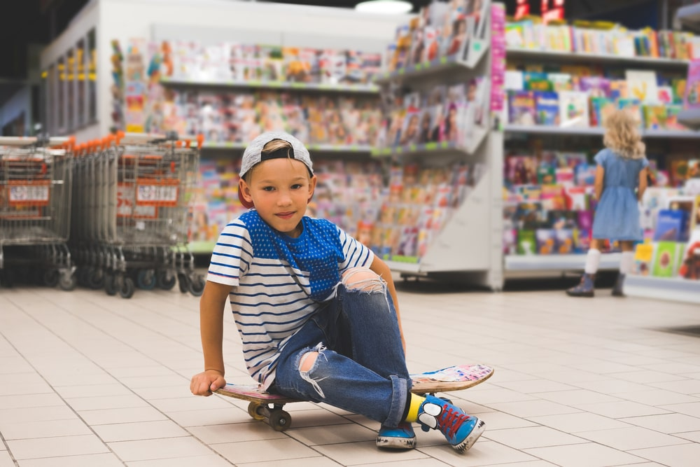 Boy in a grocery store
