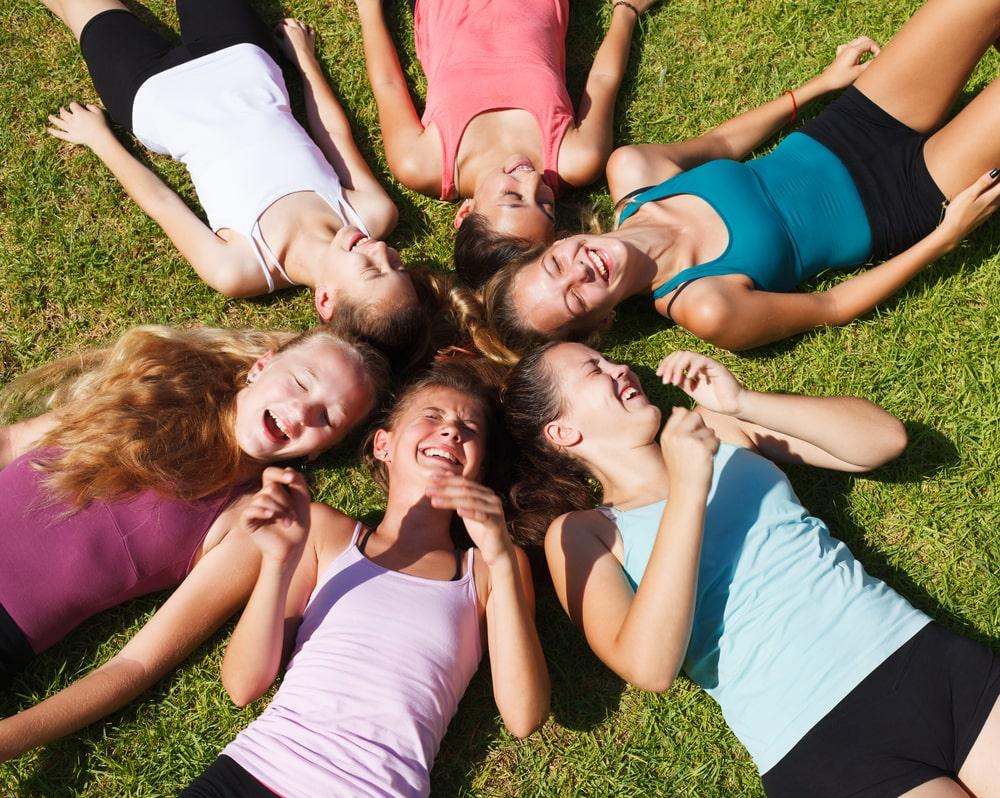 Circle of teenage girls
