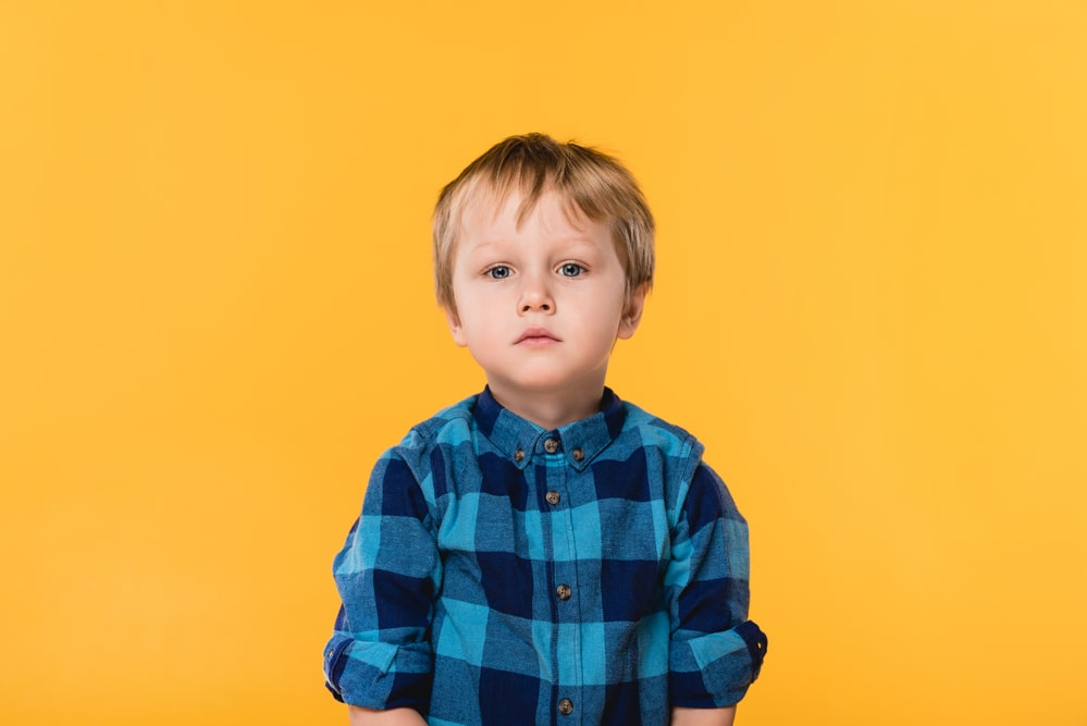 Portrait of little boy in shirt looking at camera