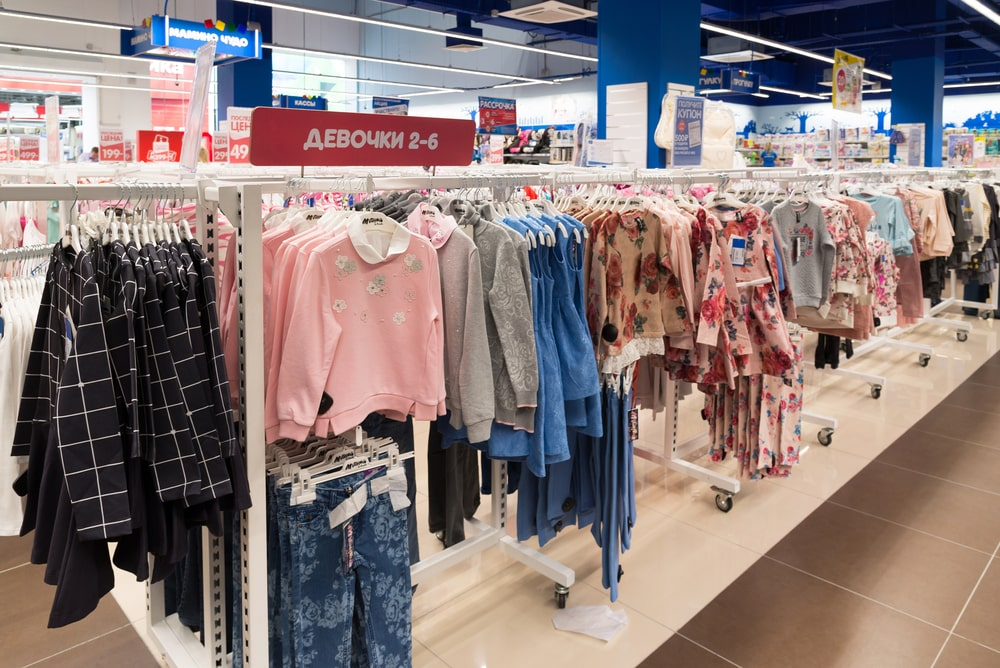 children's clothes in a department store