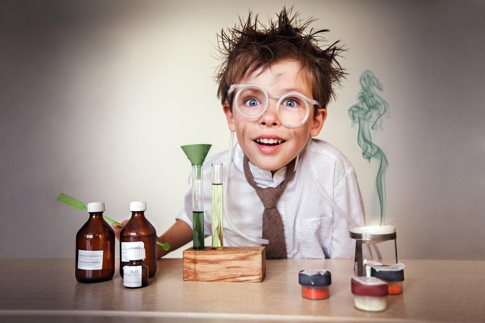 Crazy scientist. Young boy