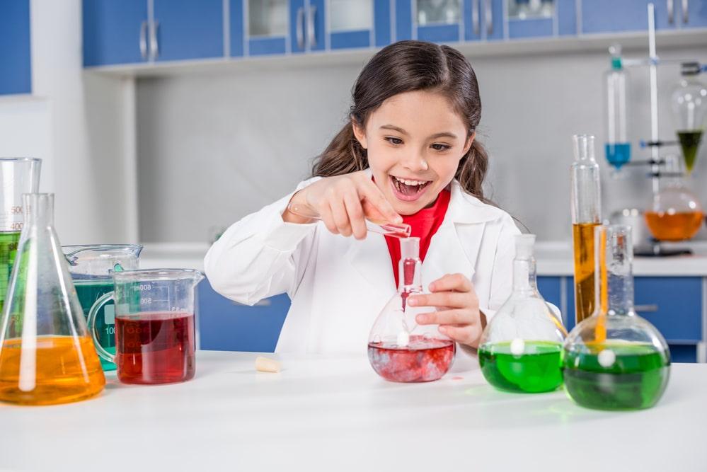 Girl in chemical lab