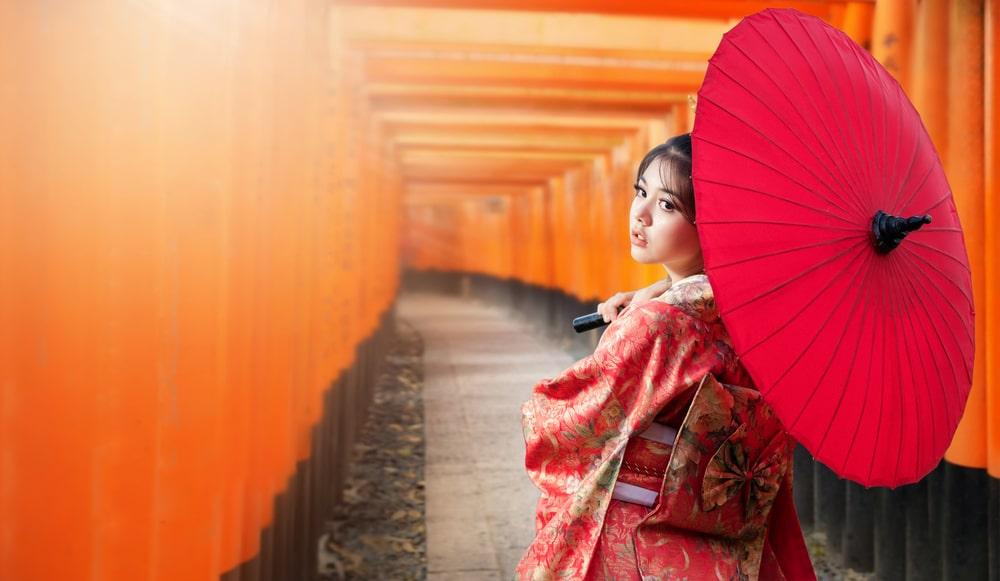 Japanese girl wearing a kimono