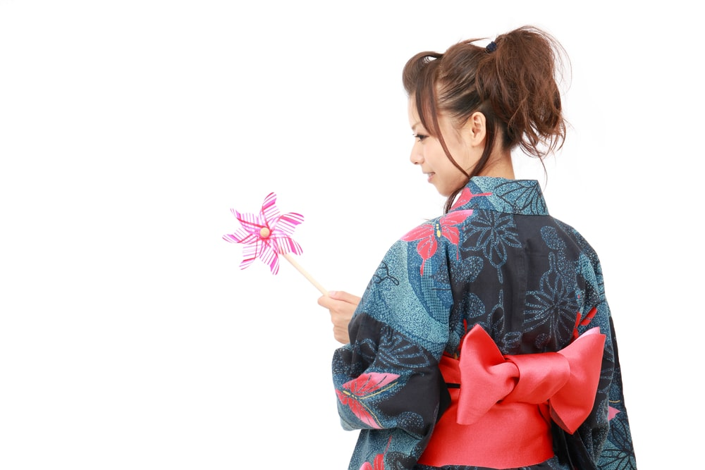 Japanese woman in traditional clothes of Kimono