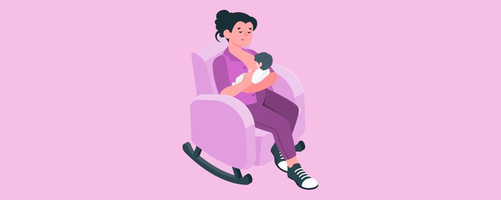 Woman Breastfeeding on a rocking chair