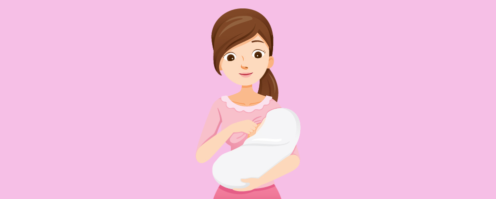 Woman about to breastfeed her baby