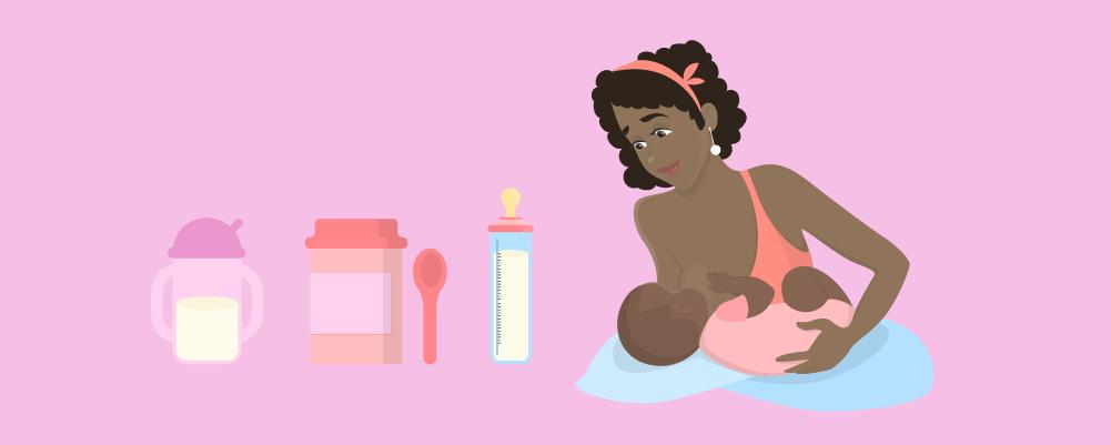 Woman breastfeeding next to baby tools