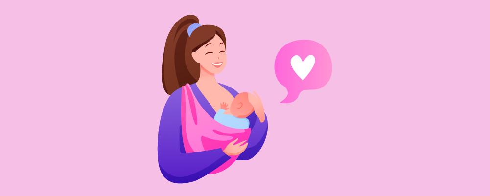 Woman Breastfeeding with love