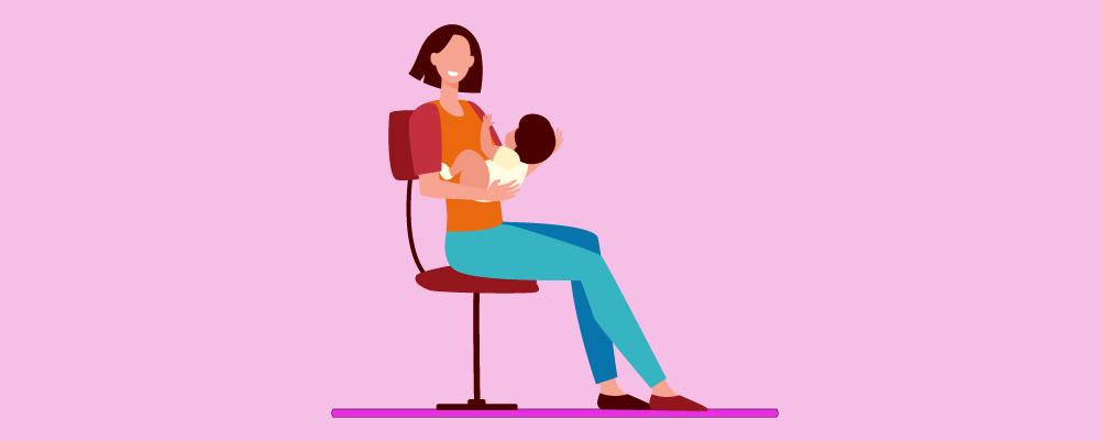 Woman Breastfeeding sitting on a office chair