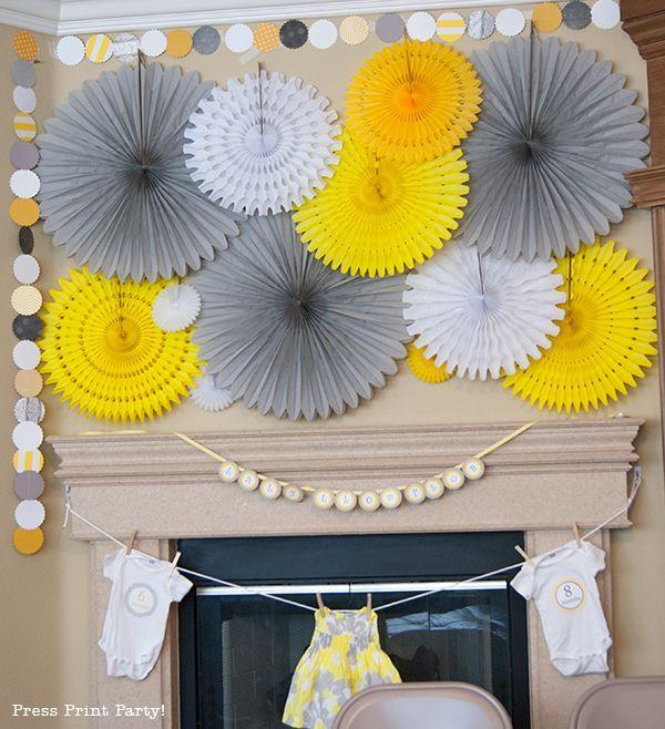 yellow grey baby shower