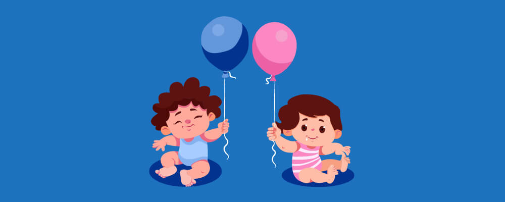 Two babies holding a balloon each a baby boy with blue balloon and a baby girl with a pink one
