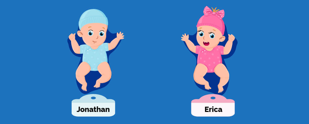 A baby boy named Jonathan and a baby girl named Erica